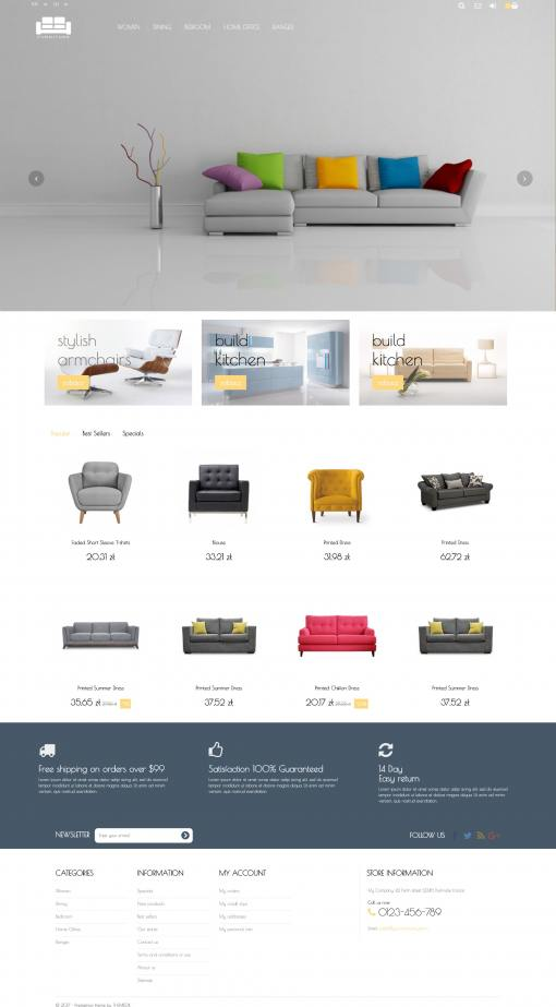 Universal transparent template with full screen width slider - PrestaShop 1.6